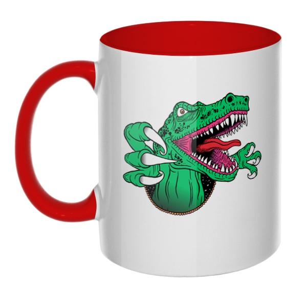 Крокодил, кружка цветная внутри и ручка