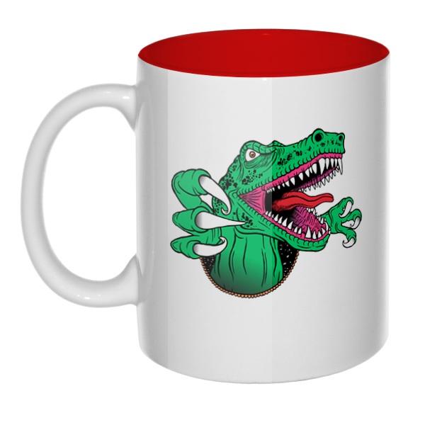 Крокодил, кружка цветная внутри