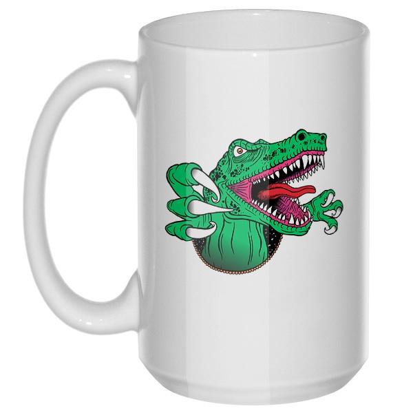 Крокодил, большая кружка с круглой ручкой